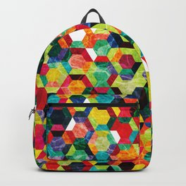 Colorful Half Hexagons Pattern #02 Backpack