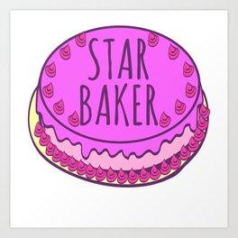 Star Baker Baking Design For Bakers T-shirt Design Fork Knife Cherry Icing Cake Dessert Buttons Art Print