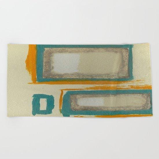Soft And Bold Rothko Inspired - Modern Art - Teal Blue Orange Beige Beach Towel