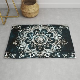 Glowing Spirit Mandala Blue White Bohemian Hippie Zen Indian Yoga Mantra Meditation Rug