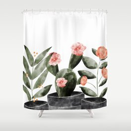 Watercolor Cactus Floral Shower Curtain