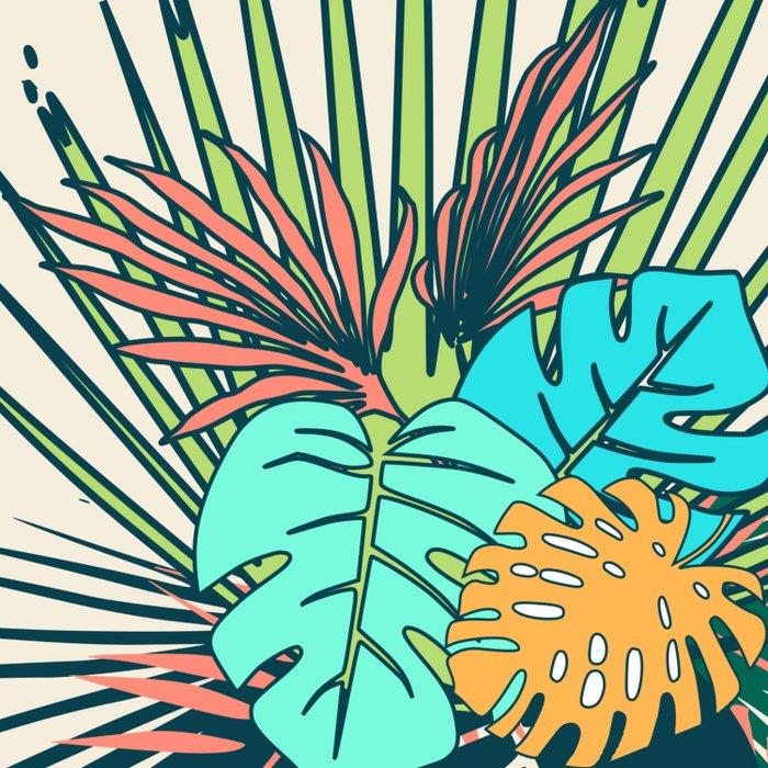 Tropical leaves cream Duvet Cover