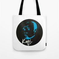 karl Tote Bags featuring Karl Pilkington  by All Surfaces Design