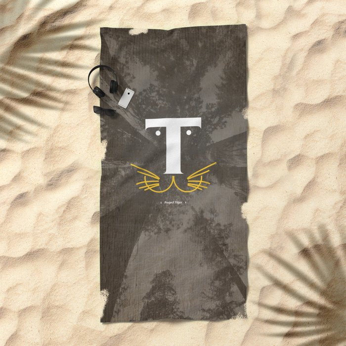 T for Tiger #Typo Beach Towel