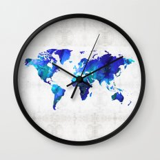World Map 17 - Blue Art By Sharon Cummings Wall Clock