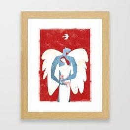 The New Christmas Family in Red Framed Art Print