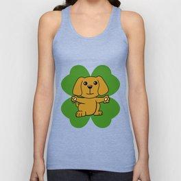 Dog On Four Leaf Clover- St. Patricks Day Funny Unisex Tank Top