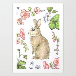 Floral Bunny Art Print