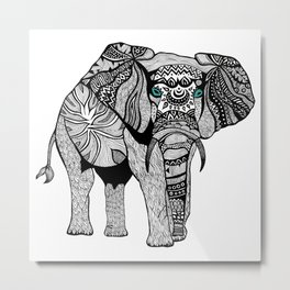 Elephant of Namibia (black & white) Metal Print