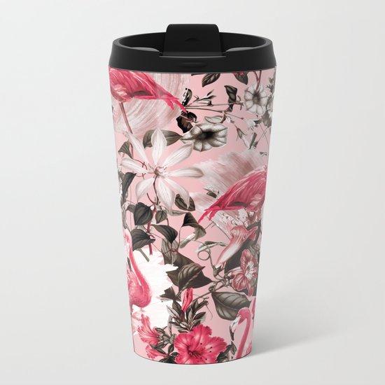 Floral and Flemingo III Pattern Metal Travel Mug