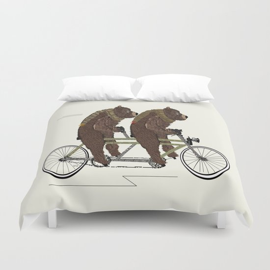 grizzly bears lets tandem Duvet Cover