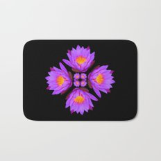 Purple Lily Flower - On Black Bath Mat