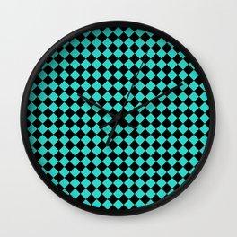 Black and Turquoise Diamonds Wall Clock