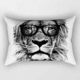 Hipster Lion White Rectangular Pillow