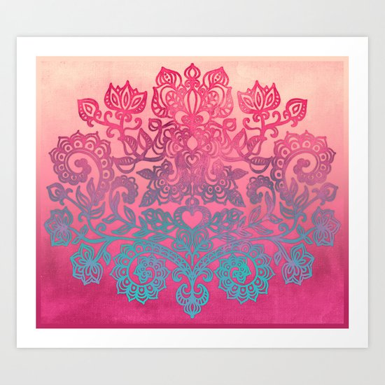 Ombre Canvas Folk Art Doodle in aqua, pink & peach Art Print