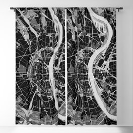 Cologne map black and white Blackout Curtain