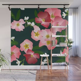 Pink Roses and Cherry Blossoms Wall Mural