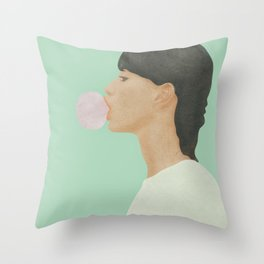 Blowing Bubble Gum Throw Pillow