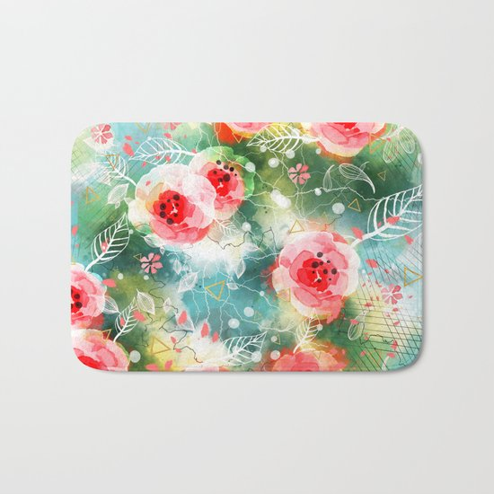 Abstract painting nature and geometric Bath Mat