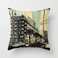 freud Throw Pillows featuring Freud II. by Zsolt Vidak