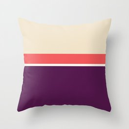 Lines Print Red, Dark magenta and Coral Throw Pillow
