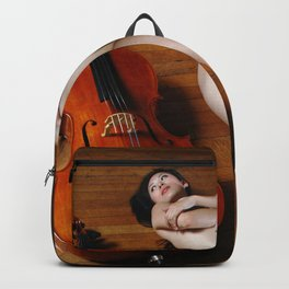 0137-JC Nude Cellist with Her Cello and Bow Naked Young Woman Musician Art Sexy Erotic Sweet Sensual Backpack