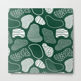 Abstract stones geometric retro pattern forest green Metal Print