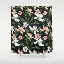 Flowers in the tropical night Shower Curtain