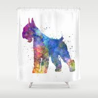 schnauzer Shower Curtains featuring Giant Schnauzer 01in watercolor by Paulrommer