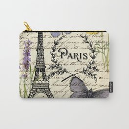 french botanical print purple butterfly lavender floral paris eiffel tower Carry-All Pouch