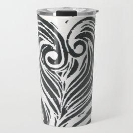 Block Print Heart -Black and White Travel Mug