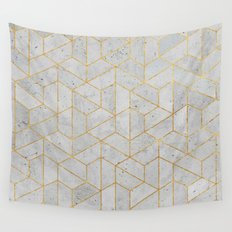 Concrete Hexagonal Pattern Wall Tapestry