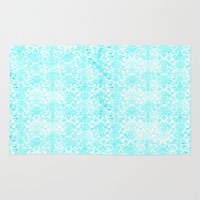 aqua Area & Throw Rugs featuring Aqua Blue Damask by 2sweet4words Designs