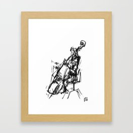 Playing the contrabass Framed Art Print