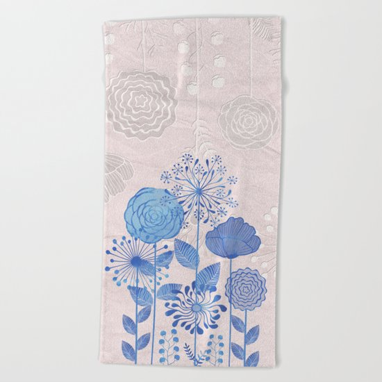 Light Blue Flowers Beach Towel
