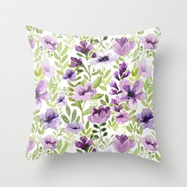 Watercolor/Ink Purple Floral Painting Throw Pillow