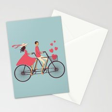Love Couple riding on the bike Stationery Cards