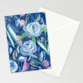 blue floral explosion Stationery Cards
