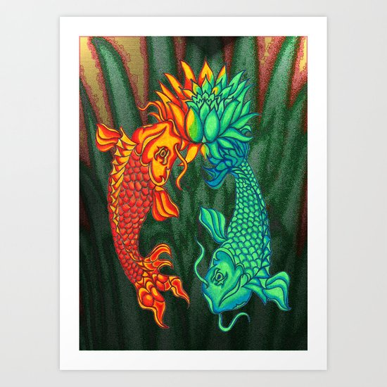 Koi Fish Lotus Art Print