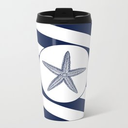 Nautical Starfish Navy Blue & White Stripes Beach Metal Travel Mug