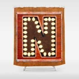 Monogram Letter N - Vintage Style Lighted Sign Shower Curtain