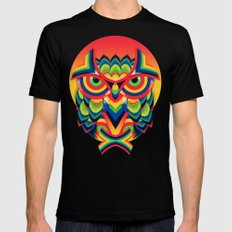 Owl 3 Black LARGE Mens Fitted Tee