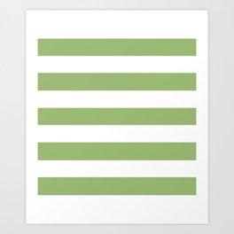 Olivine -  solid color - white stripes pattern Art Print