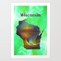 wisconsin Art Prints featuring Wisconsin Map by Roger Wedegis