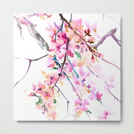 Cherry Blossom pink floral spring design cherry blossom decor Metal Print