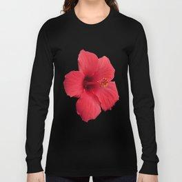 Stunning Red Hibiscus Flower Long Sleeve T-shirt