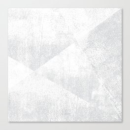 White and Gray Lino Print Texture Geometric Canvas Print