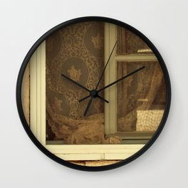 lace curtains in alacati Wall Clock