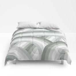 Elegant Gray Green Stripes Comforters