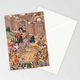 The Siege of Arbela in the Era of Hulagu Khan by Basavana - 16th Century Classical Indian Art Stationery Cards